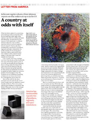 Letter From America, A country at odds with itself. By Glenn Adamson. Crafts, September/October 2017.