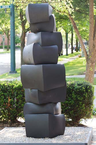 Tom Joyce, cast iron, sculpture, Hill Gallery - STACK III - Forged stainless steel - 84� x 33� x 32� - 8,556 lbs. - Photo � Hill Gallery