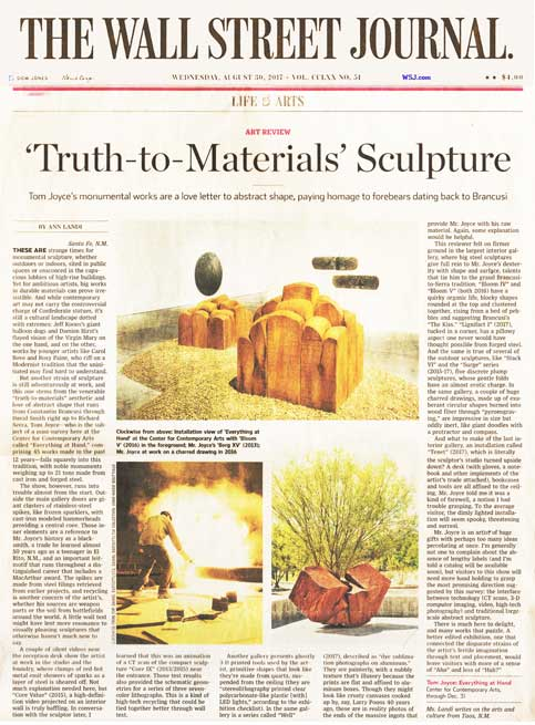 Tom Joyce: Everything at Hand Review: Truth-to-Materials Sculpture. By Ann Landi. Wall Street Journal, August 29, 2017